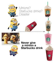 """""""Minion+starbucks=disaster"""" by pitchcupcakepenguiniggytrainor ❤ liked on Polyvore"""