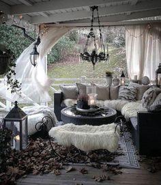 Casa Steampunk, Outdoor Rooms, Outdoor Living, Bohemian Bedroom Design, Balkon Design, White Home Decor, White Houses, Dream Rooms, Home Decor Inspiration