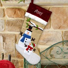 Embroidered Burlap Snowman Stocking   Personalized Christmas Stockings