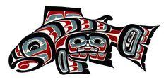 Native American Salmon Totem Art