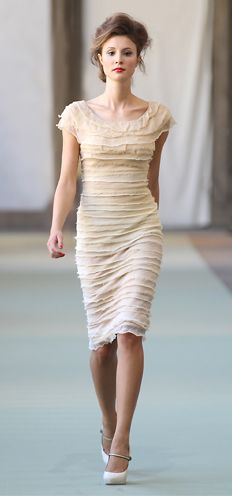 Love the sharp silhouette with the soft, layered chiffon & tulle - perfect!!   Luisa Beccaria Spring/Summer 2012