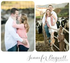 engagement session on her family's dairy farm