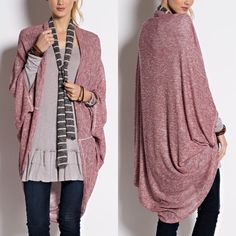 XX ADELIE cozy dolman cardigan - BURGUNDY NOTHING BEATS THE EASE OF THROWING ON A COZY CARDIGAN. 2 TONE LIGHT KNIT WITH AN OPRN FRONT AND FEATURES DOLMAN 3/4 SLEEVE. Available in black & burgundy. NO TRADE Jackets & Coats