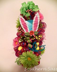 Easter Swag Wreath Door Hanger Decoration by SouthernSassHD, $65.00