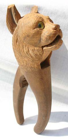 Black Forest carved cat nutcracker :