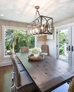 kitchen lighting fixture ideas. House Of Turquoise: Harper Construction I Have These Chairs, Great Idea With The Cushions, Love Long Farm Table, Been Looking For A Smaller Round Kitchen Lighting Fixture Ideas