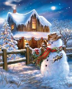 The Country Christmas (500 Piece Puzzle by Springbok) Christmas Cross, Christmas Snowman, Christmas Past, Vintage Christmas Cards, Country Christmas, Christmas Images, Christmas Holidays, Beautiful Christmas Scenes, Christmas Scenes Pictures