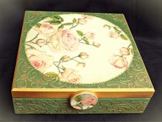 Vintage decoupage box roses green