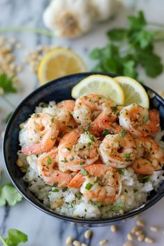 Lemon Shrimp with Garlic and Herbs with Cilantro Lime Rice