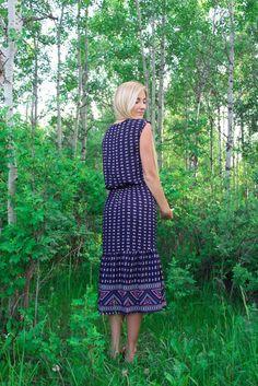 The Gemma Midi Blue Patterned Dress – Nelipot Apparel #shop