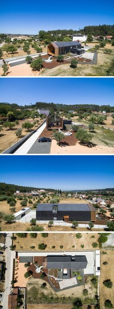 Filipe Saraiva Arquitectos have designed a modern family house that sits on a slightly sloped piece of farmland in Melroeira - Ourém, Portugal. #Architecture #ModernFamilyHouse #ModernHouse