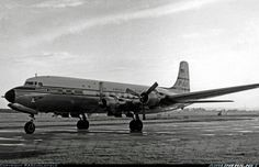 "September 12, 1954 - Pan American Douglas DC-6B N6531C, ""Clipper Viking"" taxies towards Heathrow North, using just the inner engines, on arrival on a transatlantic tourist class flight."