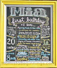 Mia's 1st birthday poster -momistabeginnings.com