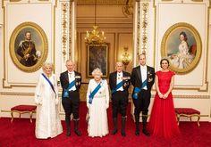 Camilla, Duchess of Cornwall, Prince Charles, Prince of Wales, Queen Elizabeth II, Prince Philip, Duke of Edinburgh, Prince William, Duke of Cambridge and Catherine, Duchess of Cambridge