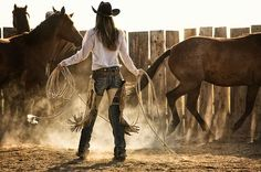 Cowgirls working. Sweat and dirt, the same as the boys but a lot nicer to look at.