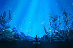 kid looking undersea life-Ребенок стоит и смотрит на подводный мир-طفل يتفرج على حياة عمق البحر Gifs, Gif Background, Pretty Drawings, Anime Scenery Wallpaper, Aesthetic Gif, Anime Art Girl, Animated Gif, Pixel Art, Cute Art