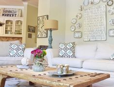 We love a sweet and inviting living room for gathering with the ones we love. This farmhouse inspired space is one that we ourselves have spent many occasions laughing, eating, playing with pups and enjoying the fellowship of each other! Farmhouse Living - Farmhouse Living Room - Farmhouse Decor - Farmhouse Inspiration - Living Room Design