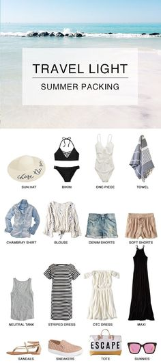 Travel Light: Summer Travel and Preparing for a Beach Getaway! Tips and tricks f., Beach Outfits, Travel Light: Summer Travel and Preparing for a Beach Getaway! Tips and tricks for how to prep and get that summer glow, what to pack and more. Travel Wardrobe, Capsule Wardrobe, Beach Wardrobe, Outfit Strand, Travel Capsule, Travel Outfit Summer, Travel Clothes Summer, Summer Travel Fashion, Summer Getaway Outfits