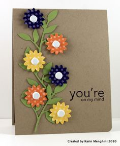 Cute idea for flower card with punches.  Good way to use up small pieces of DSP.