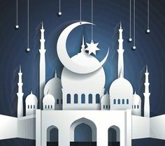 mosque and crescent moon with stars - Ramadan Kareem or Ramazan Kareem background - paper craft style - vector by Kate Pru, via Shutterst. Eid Crafts, Ramadan Crafts, Paper Crafts, Ramadan Background, Paper Background, Ramadan Wallpaper Hd, Decoraciones Ramadan, Ramadan Lantern, Image Clipart