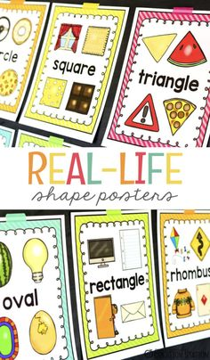 When adding posters to your classroom, consider adding these real-life shape posters to your walls. Free Preschool, Preschool Printables, Preschool Learning, Kindergarten Classroom, Preschool Activities, Montessori Elementary, Free Printables, Kindergarten Posters, Preschool Shapes