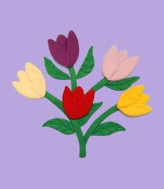 """""""Tulip Bouquet"""" Stuffed peel and stick reusable wall decal. Made of fleece, stuffed with fiber fill and backed with a vinyl peel and stick"""