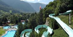 Hillside water slide in Switzerland