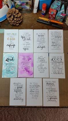 "Bible Journaling on Index Cards!! Love this idea from  Diane Scott in the Bible Journaling Community on Facebook. She said, ""These are hand-lettered index cards with all the verses from Psalm 16. I almost have the chapter memorized!! Yay!! It really helps slow me down to letter each one, I can ponder the meaning as I go and it's been a huge blessing to me."""