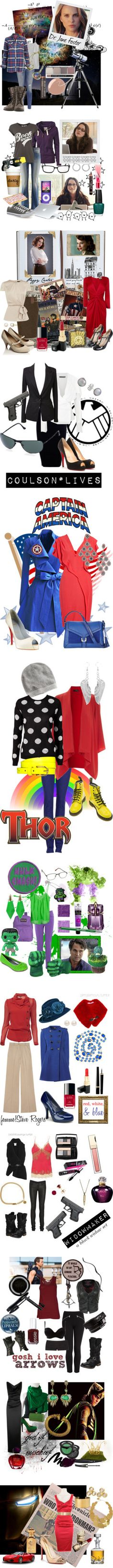 """""""Get Dressed, Avengers"""" by eiluned ❤ liked on Polyvore"""