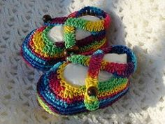 Baby rainbow sandals Originally uploaded by aishakenza I've called these baby rainbow sandals because of the yarn I've used to make the mo...