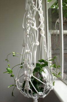 Knotted rope glass ball planter – Sarah Parkes