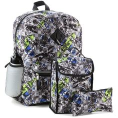 "Set Includes 16"" Backpack, Insulated Lunch Bag, Pencil Case, Water Bottle and Caribiner Clip Made From 100% Polyester Label Reboot"