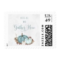 Blue Pumpkin Stamps- First Class Postage - thanksgiving day family holiday decor design idea