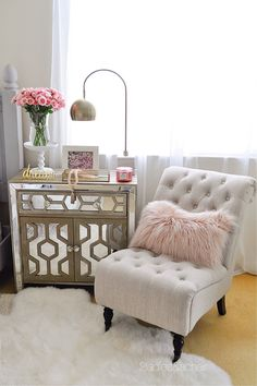 "This nightstand was a new purchase from HomeGoods. I needed the height for this tall bed. Its neutral color and mirror trim make this piece special and added much more needed storage space. All these beautiful extra decor items made shopping for this vignette a ""one stop shop"" at HomeGoods! Sponsored by HomeGoods"