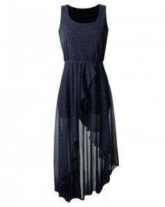 LOVE Navy Lurex Asymmetrical Maxi Dress - Love