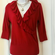 I.N red top#5 Ruffled  design red knitted  top I.N SAN FRANCISCO  Tops Blouses