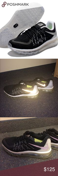 Nike Air maxes Black, white, and silver Nike air max shoes. Lightly worn, but in great condition! Have gotten many compliments on these shoes!! Nike Shoes Sneakers