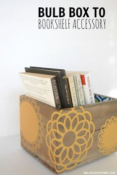 bulb box to bookshelf - home decor - fun DIY using Martha Stewart Crafts