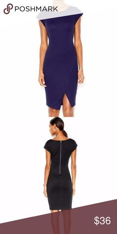 """Bar III Ribbed Envelope Dress Dark Navy Sz XS An essential, work-perfect dress from Bar III that's chic enough for the after-hours. Our second photo is the black version of this dress but shows its beautiful back detail. Crew neckline Zipper closure at back Cap sleeves Allover ribbed styling Sheath silhouette Envelope hem Hits above knee All dimensions listed are approximate Polyester/spandex Machine washable Imported  Measurements, taken laying flat:  Armpit to armpit: 14.5"""" (does stretch)…"""