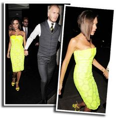 victoria beckham wearing a bright neon yellow dress.. you can always ...