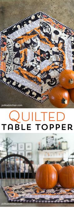 The best DIY projects & DIY ideas and tutorials: sewing, paper craft, DIY. Best Diy Crafts Ideas For Your Home Halloween Quilted Table Topper Sewing Tutorial, so cute you could change out the fabric and use it for any Holiday! Easy Sewing Projects, Sewing Projects For Beginners, Sewing Hacks, Sewing Tutorials, Sewing Crafts, Sewing Tips, Simple Projects, Diy Crafts, Quilt Tutorials