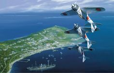 Zero's in formation looping over Port Moresby. Subaru Sakai's book Samurai recounts this incident.