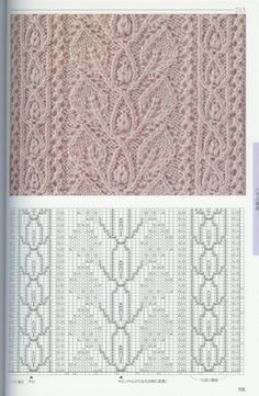 Beautiful lace and cable patterns from a Japanese pattern book. Images are blurred, and there is no symbol translation.
