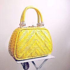 Yellow wicker bag