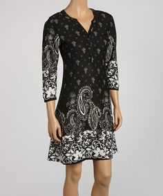 Take a look at this Black & White Paisley Henley Dress by Reborn Collection on #zulily today! $34.99