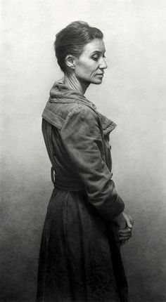 Shades of Gray Competition Winners - Woman in Coat, by Marcos Rey, 2015, graphite, 36 1/2 x 20