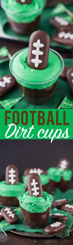 Football themed dirt cups - a fun football dessert to make for game day, super bowl, or a football themed birthday party! We made these and substituted football sprinkles for the football cookie on top.