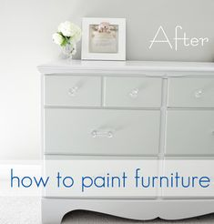 How to paint furniture.  This is so great because it lists each step and gives tricks and tips.  I love the subtle two-toned paint on the dresser.