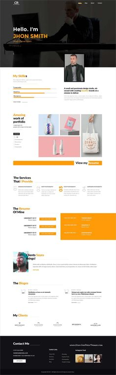 Partex - One page Resume\/ CV \ Personal Portfolio PSD Template - personal website resume