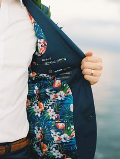 Wedding Suit Tropical lining for groom's jacket from waterfront wedding at Olowalu Plantation House Beach Wedding Groom, Beach Wedding Aisles, Wedding Tux, Beach Wedding Attire, Hawaii Wedding, Farm Wedding, Wedding Couples, Boho Wedding, Wedding Reception